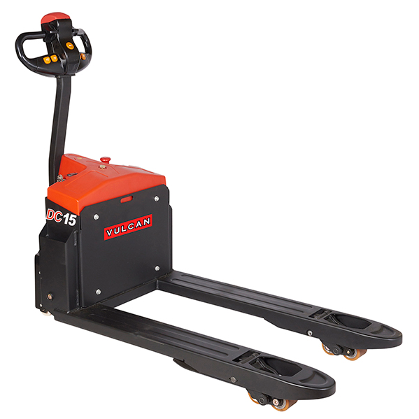 A small red and black example of an electric pallet jack.