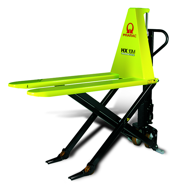 A small, neon yellow example of an elecrtic pallet jack.